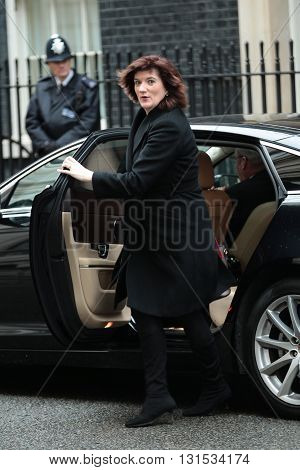 LONDON, UK - FEBRUARY 2, 2016: Nicky Morgan Education Secretary seen at Downing Street