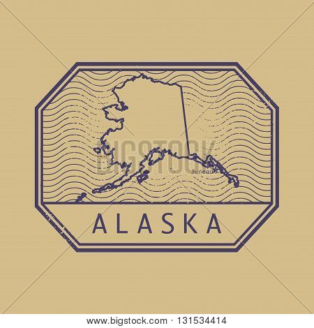 Stamp with the name and map of Alaska, United States, vector illustration