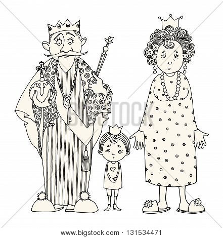 King and Queen with kids. Hand drawn illustration