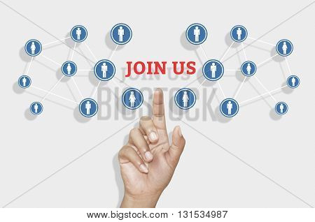 Businessman hand pointing on Join us about invitation concept.