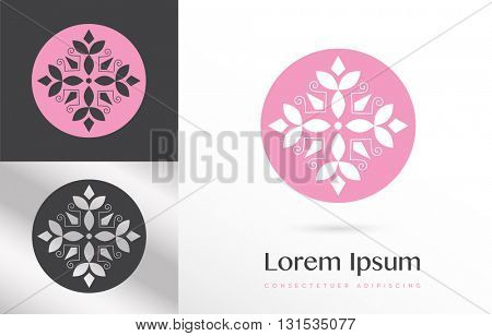 PREMIUM VECTOR LOGO / ICON DESIGN : FLOWER LIKE ELEMENTS SHAPING A CROSS INSIDE A CIRCLE