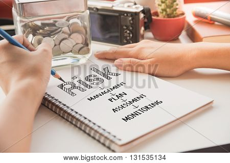 Businessman write SME word on book small business concept.