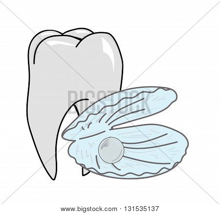 shell with a pearl on a background of a healthy tooth. vector illustration