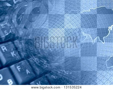 Digits and map - abstract computer background in blues.