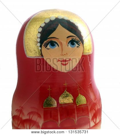 Matryoshka doll portrait photo. Russian traditional nesting doll