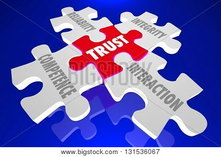 Trust Competence Reliability Words Puzzle Pieces 3d Illustration
