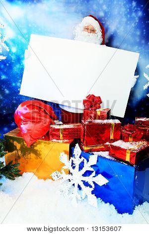 Christmas theme: Santa  gifts, snowy design.