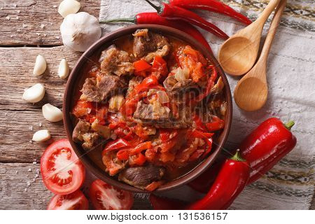Lamb Slow Stewed With Onion, Tomato And Pepper Closeup. Horizontal Top View