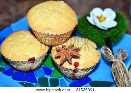 Cakes on table, sweet and tasty with spices decorated