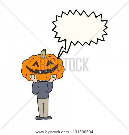 freehand drawn speech bubble cartoon pumpkin head halloween costume
