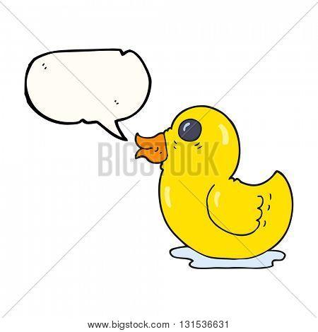 freehand drawn speech bubble cartoon rubber duck