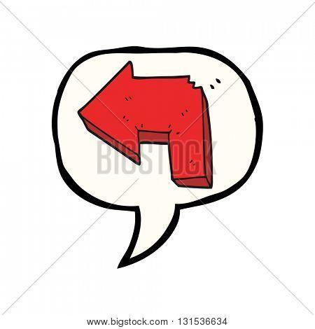 freehand drawn speech bubble cartoon direction arrow