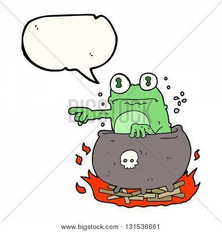 freehand drawn speech bubble cartoon halloween toad in cauldron