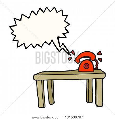 freehand drawn speech bubble cartoon phone ringing on desk