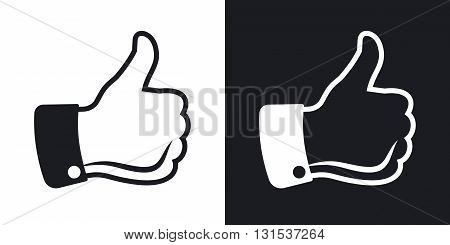Vector thumbs up icon. Two-tone version on black and white background