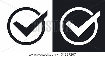 Vector tick icon. Two-tone version on black and white background