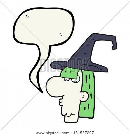 freehand drawn speech bubble cartoon witch head