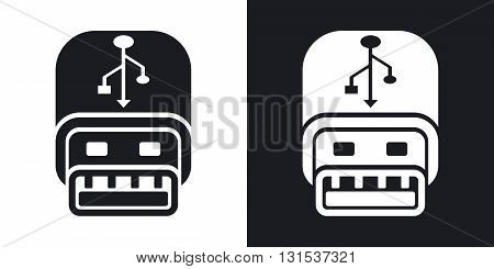 Vector usb stick icon. Two-tone version on black and white background