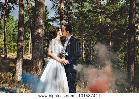 Young man and woman walking in a pine forest, wedding story. Colored smoke. Kiss