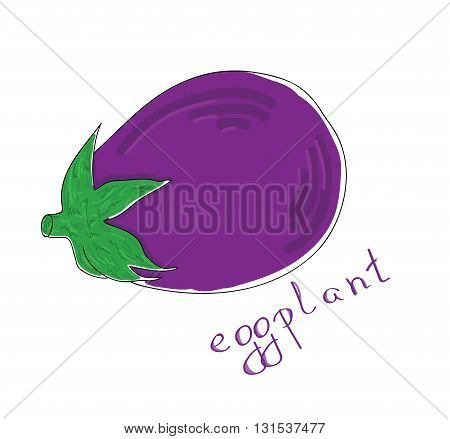 Figure ripe eggplant on a white background. vector illustration