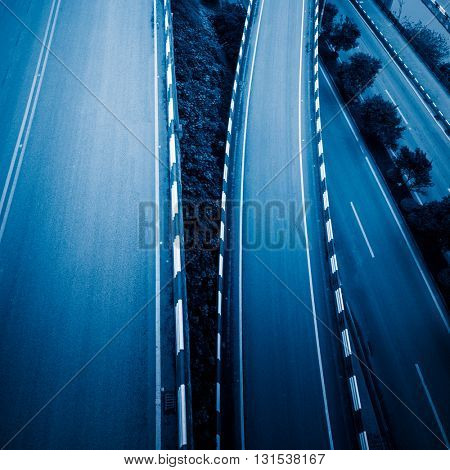 aerial view of overpass in chongqing,china,blue toned image.
