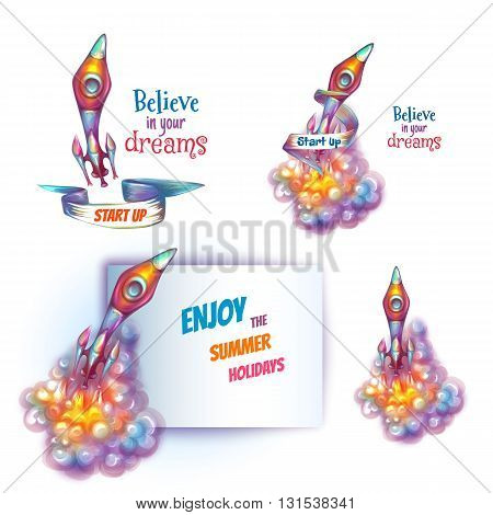 Vector illustration of brightly rocket with paper.
