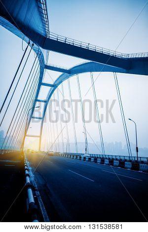 traffic in yangtse river bridge,chongqing china.