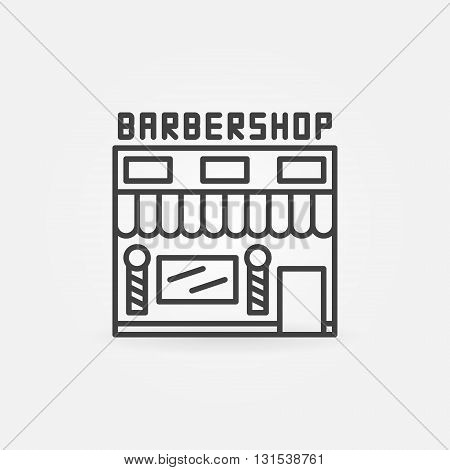 Barbershop building icon - vector hairdresser salon symbol in thin line style. Simple linear barbershop symbol