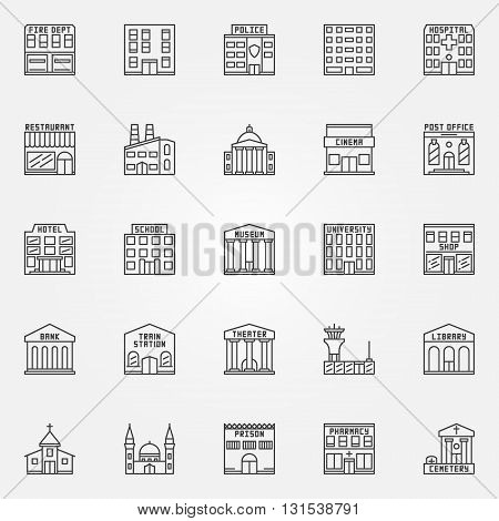Building line icons - vector set of government building signs in thin line style. Police, school, museum, bank and other buildings symbols