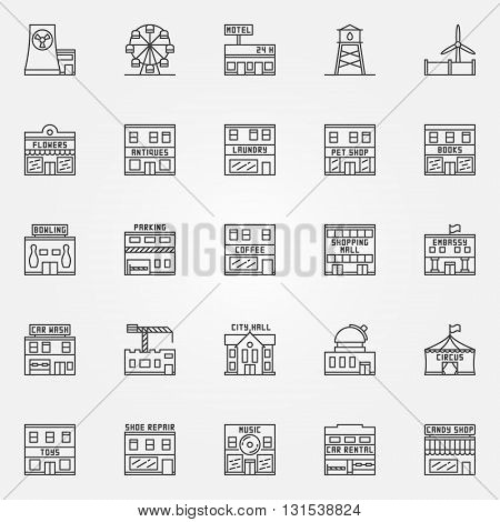 City buildings icon set - vector collection of town buildings thin line symbols. Circus, bowling, observatory and other linear signs