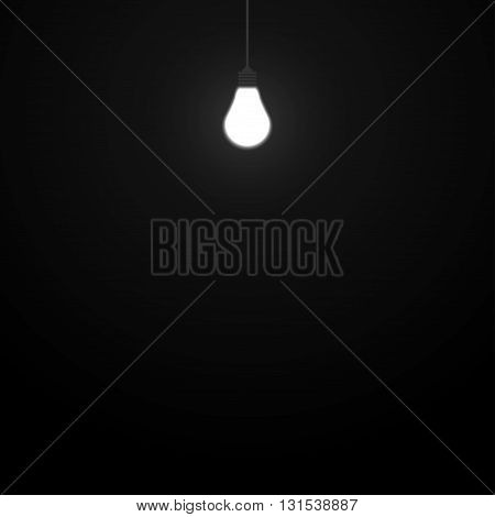 Vector background. Glowing light bulb in a dark room. Eps 10.