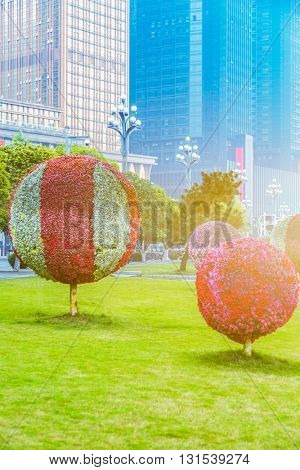 green park in front of office building area,tianjin china.