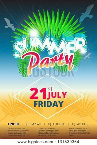 Summer beach party event poster and flyer template design in A4 size