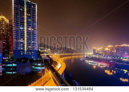 night view of chongqing harbor