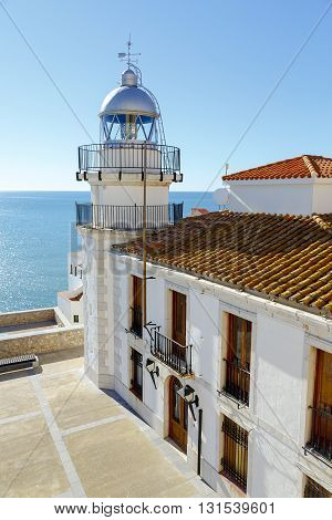 lighthouse looking at the sea in Peniscola Valencia Spain.
