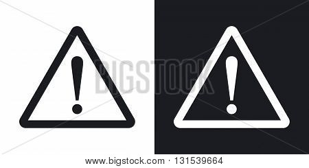 Warning attention sign with exclamation mark symbol. Two-tone version on black and white background