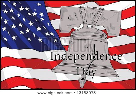 Bell and American flag. symbols of America's independence. Independence Day. vector illustration.