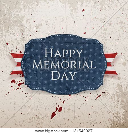 Happy Memorial Day textile Sign and Ribbon. National American Holiday Background Template. Vector Illustration