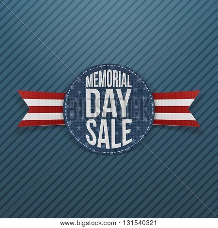 Memorial Day Sale textile Sign and Ribbon. National American Holiday Background Template. Vector Illustration