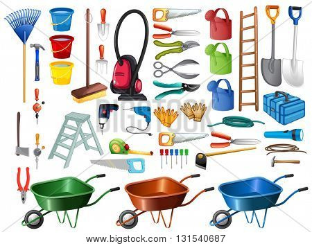 Different household tools and equipments illustration