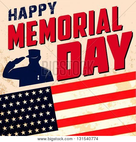 Happy memorial day poster template. Memorial Day greeting card. Design element in vector.