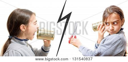 girl screaming in the phone the other cuts the communication with scissors