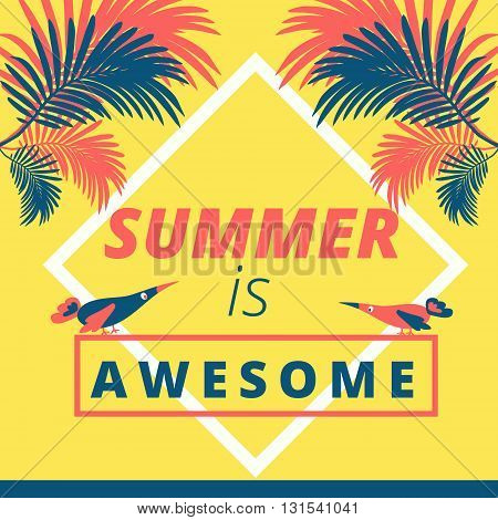 Bright yellow summer motivation quotation background illustration design summer is awesome