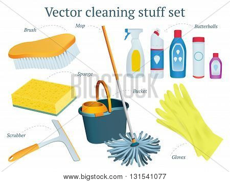 Set of vector cleaning stuff design with mop bucket butterballs sponge gloves scrubber moistures