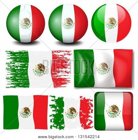 Mexico flag in many design illustration