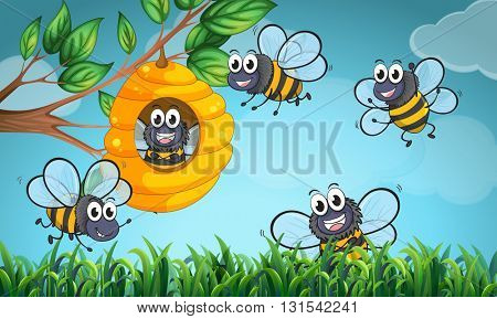 Scene with bees and beehive illustration