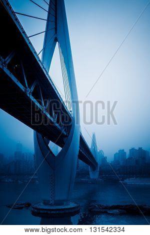 skyline,river and bridge,chongqing china.