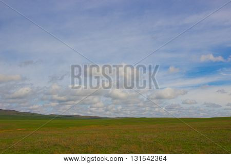 An image of a beautiful steppe spring landscape of Kazakhstan