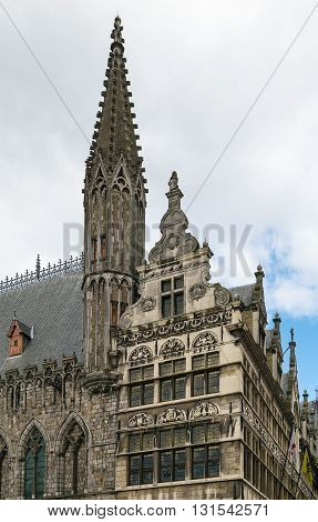 The Cloth Hall is a large cloth hall a medieval commercial building in Ypres Belgium.