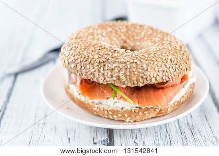 Fresh Made Bagel With Salmon (selective Focus)